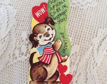 Vintage 1950s Valentine Puppy Dog With A Dill Pickle Collectible Paper Ephemera Arts Crafts Scrap Booking