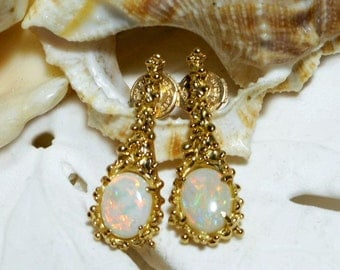 18k Australian Opal Drop Earrings with La Pousette Backs 4.85 grams
