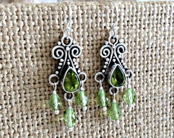 Hand Made Earrings,Sterling Silver Peridot Artisan Chandelier Earrings