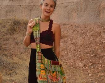 Vintage Guatemalan Textile Flower Purse Messenger Bag