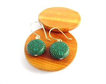Emerald Green Kaleidoscope Earrings, Sterling Silver and Polymer Clay by Supremily Jewellery