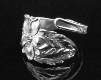 Sterling Silver Spoon Ring Flowers