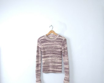 Vintage 90's light purple ribbed knit sweater, lilac sweater, size medium / large