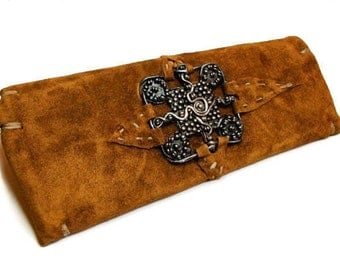 Aspen-St. Moritz Clutch in Suede with Reclaimed Mink lining with Sterling Silver adornment
