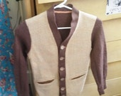 Vintage Cardigan Wool Hounds Tooth Brown Tan Checked Button Down Sweater 40's 50's Mid Century Fashion Boys or Teen