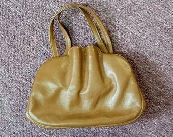 Vintage Purse Ingber Dark Butterscotch Gathered Bag 40's 50's Mid Century Fashion Handbag Very Different Top Handle Gold Clasp