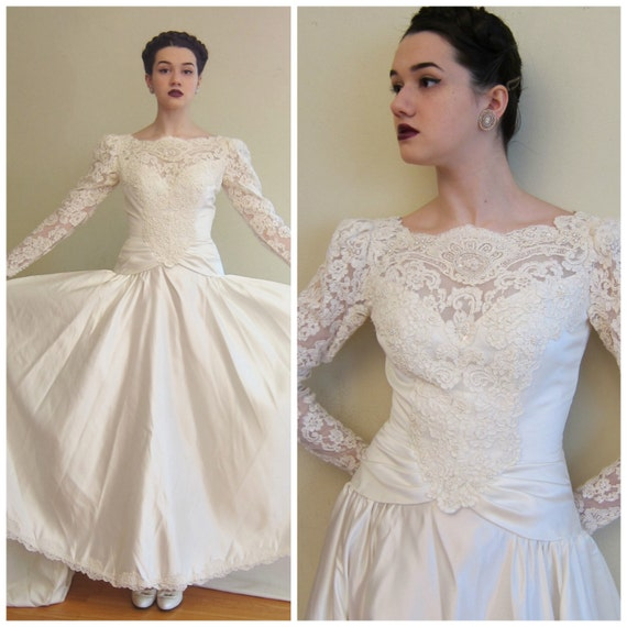 Vintage Wedding Dresses 80s: Vintage 1980s 1990s Wedding Dress House Of Bianchi White Satin