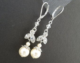 Ivory Swarovski Pearl earrings Bridal earrings Pearl Rhinestone Earrings wedding Earrings Bridal Rhinestone Earrings swarovski pearl SHELBY