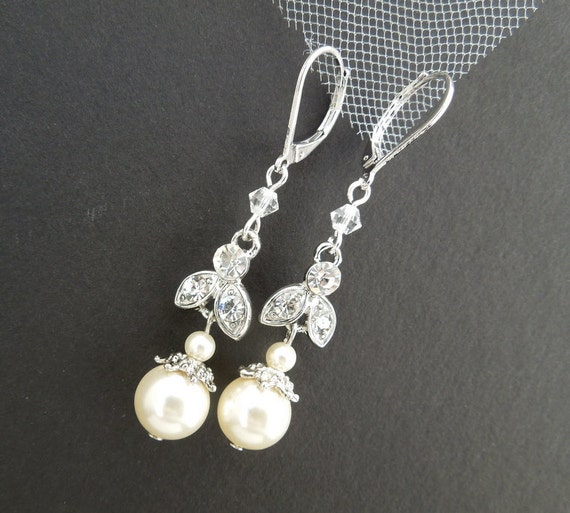 Ivory Swarovski Pearl earrings Bridal earrings Pearl Rhinestone Earrrings wedding Earrings Bridal Rhinestone Earrings swarovski pearl SHELBY