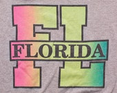 Florida FL T-Shirt, Retro Neon Rainbow Ombre Graphic Tee, Vintage 80s, Screen Stars, Gray Polyester Cotton Blend, Fits Like Small S