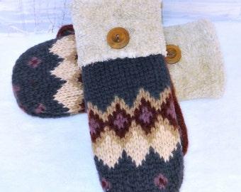 100% Wool Blue, Purple, Maroon, Ivory Fair Isle Women's Recycled Sweater Mittens