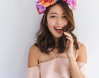 festive colourful spring racing flower crown fascinator // spring races fascinator headband, statement floral headpiece, melbourne cup