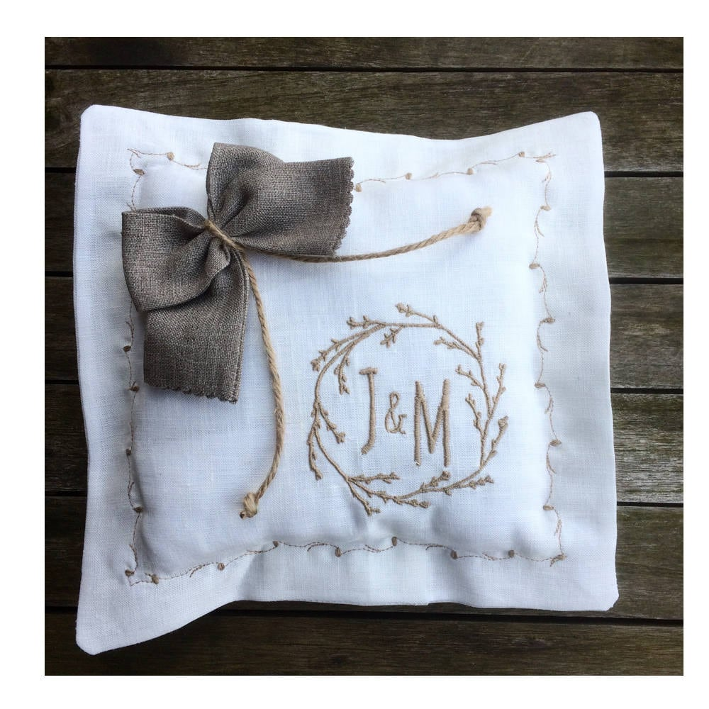 Monogram Wedding Ring Bearer Pillow: Ivory Linen Wedding Ring Bearer Pillow Personalized Monogram