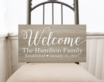 Welcome Family Name Sign, Welcome Sign, Rustic Home Decor, Cottage Chic Wall Decor
