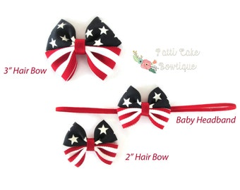 First 4th of July Hair Bow Headband, Newborn Headband, Baby Bow, Fourth of July Baby Hair Clip, Baby Girls July 4th Bow, Infant Headband