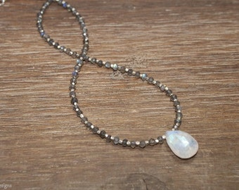 Rainbow Moonstone and Labradorite Necklace, Hill Tribe Beads, Labradorite Jewelry, Gemstone Necklace, Gifts for her