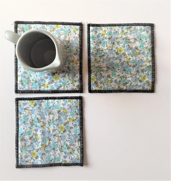 Aqua Floral And Polka Dot Mug Rugs Aqua Blue Trivets Set