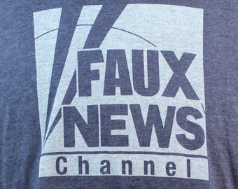 Faux News Heather Navy T Shirt - 50/50 Cotton Polyester Blend