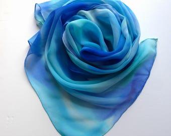 Sheer Hand Painted Silk Scarf, Ocean Inspired