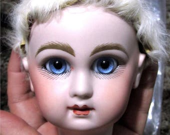 Vintage or antique doll skin wig creamy white real skin old