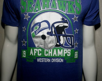 1988 Seattle Seahawks NFL football AFC West Champs Washington Chuck Knox era like new 50/50 t-shirt - men's sz
