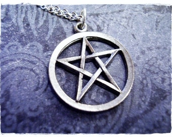 Silver Pentagram Necklace - Antique Pewter Pentagram Charm on a Delicate Silver Plated Cable Chain or Charm Only