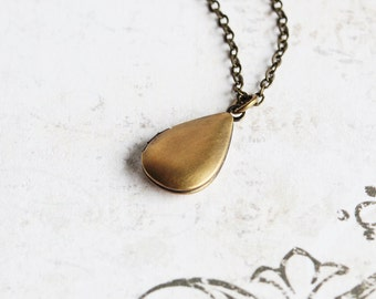 Small Oxidized Brass Teardrop Locket Necklace on Antiqued Brass Chain, Hand Finished, Gifts for Her