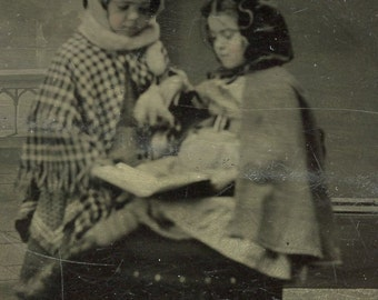 Two Cute Little Girls SHARING A BOOK in Tintype Photo circa  1880s