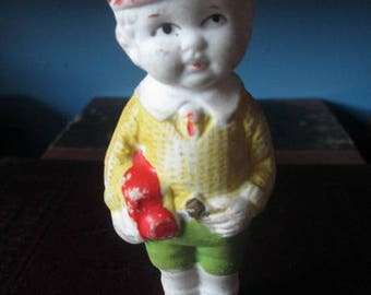 MINIATURE BISQUE FIGURE - Japan Boy with Yellow Shirt  -  Antique Vintage Mini for Collecting or Altered Art Projects