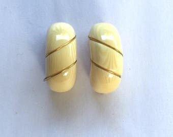Ivory and Gold Wrapped J Hook Clip On Earrings 80s Vintage Simple Elegant Dressy Bridal