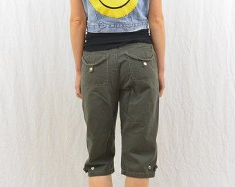 Upcycled Cropped Denim Vest, Size Medium, Smiley Face, OOAK, Bleached, Grunge, 90's Clothing, Tumblr Clothes