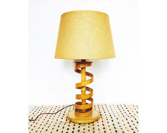 Vintage Bamboo Spiral Table Lamp