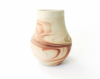 Vintage Nemadji Pottery Vase / Reddish Brown Swirls
