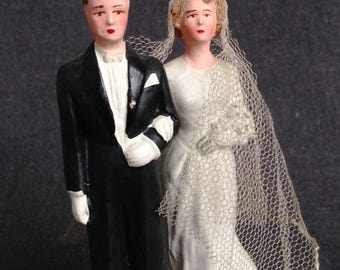 Here comes the Bride. Antique wedding cake topper...