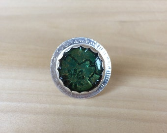 Etched Copper and Enamel set in Sterling Ring...size 7.5