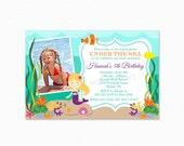 Under the Sea Birthday Party Invitation, Mermaid, Photo Invite, Personalized, Printable or Printed Invitations