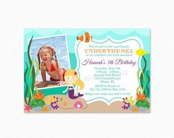 Mermaid Birthday Party Invitation, Under the Sea Birthday Party Invitation, Mermaid Invitation, Different Skin Tones Available, Printable
