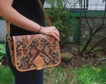 Tribal Print Saddle Bag Vintage Saddle Bag Light Brown Saddle Bag Crossbody Purse
