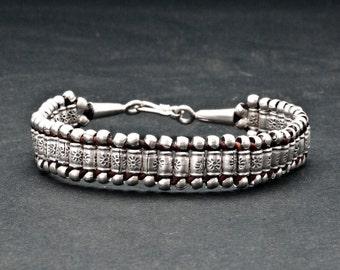 Unisex Sterling Silver Cuff Bracelet, Handmade Woven Men/Women Bracelet, Friendship Silver Beaded Bracelet, Boho Jewelry, Unisex Jewelry
