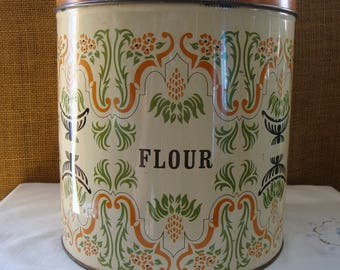 Vintage CANISTER Set by DECOWARE USA 8PC Metal Kitchen Canister Set Flour Sugar Coffee Tea Metal Storage Containers Covered Metal Canister