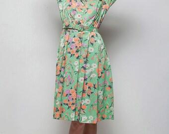 SALE 70s secretary dress long sleeves green orange pleated floral print LARGE L
