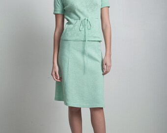 sweater skirt set a-line vintage 60s Mod eyelet belted mint green knit drawstring SMALL S