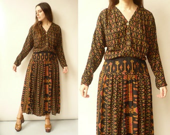 Vintage 90's Bohemian Patchwork Ikat Pattern Grunge Maxi Dress Size Medium