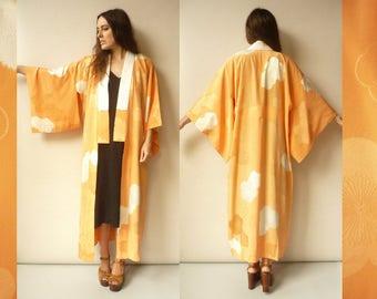 Vintage Peachy Orange Silk Floral Full Length Kimono Robe Duster Jacket Juban