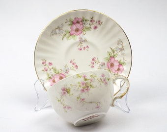 50% Off  China Cup and Saucer Mismatched Limoges France Cup and English Saucer Teatime Tea Party