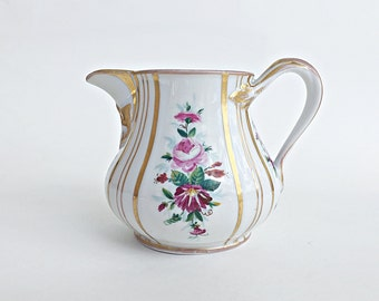 Antique Porcelain Pitcher Hand Painted Floral KPM Berlin Mark