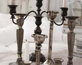 1 Candelabra 6 Candlesticks silver  plate, Vintage Antique, Beautiful French Nordic, Jeanne d Arc Living style.