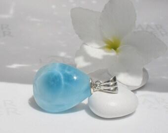 Larimarandsilver pendant, Drink Me - crystal blue Larimar pear, water drop, turtleback, blue drop, water element, handmade Larimar pendant