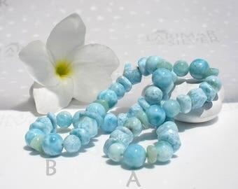 "Larimar stretch bracelet by Larimarandsilver, Caribbean Chill Out 1 - pastel blue Larimar mixed beads, Caribbean sea blue bracelet size 7.5"""