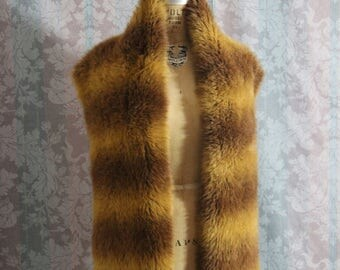 Vintage Brown Faux Fur Scarf Shawl Wrap